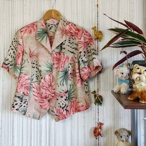 Vintage Tropical Pretty in Pink Button Down Top